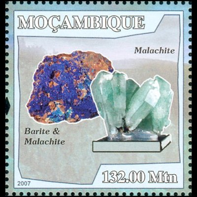 Azurite, Barite, Malachite