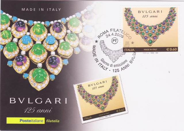 Amethysts, Turquoises, Emeralds, Diamonds (Bulgari) - Italy - 2009 - First Day Cover